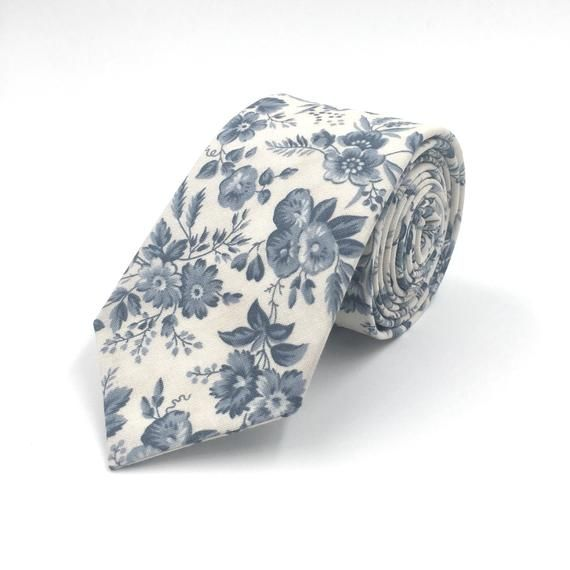 5949dba1ecfa Dusty Blue Tie, Floral Necktie, Mens Dusty Blue Floral Neck Tie, Serenity Blue  Ties - Traditional and Skinny Ties Available!