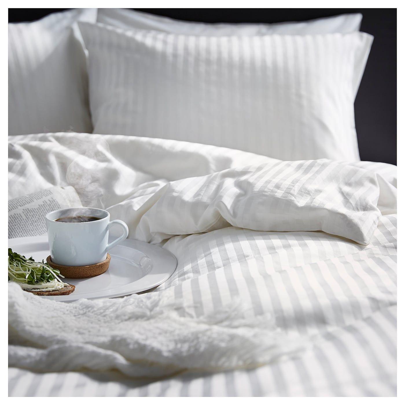Photo of NATTJASMIN Duvet cover and pillowcase(s) – white – IKEA