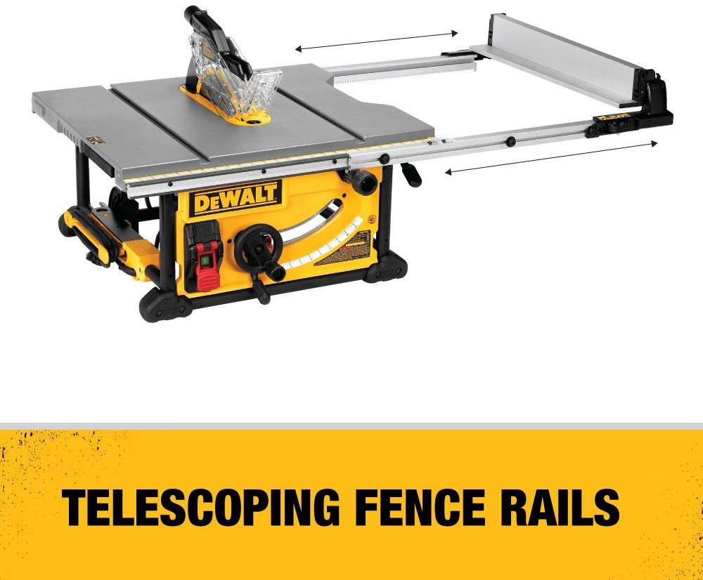 The Dewalt Dwe7491rs 10 Inch Jobsite Table Saw With 32 1 2 Inch 82 5cm Rip Capacity And A Rolling Stand Features Hybrid Table Saw Table Saw Jobsite Table Saw
