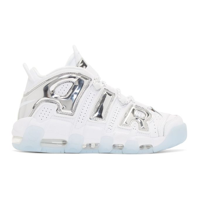 sale retailer b4c5f 417fe NIKE White   Silver Air More Uptempo High-Top Sneakers.  nike  shoes