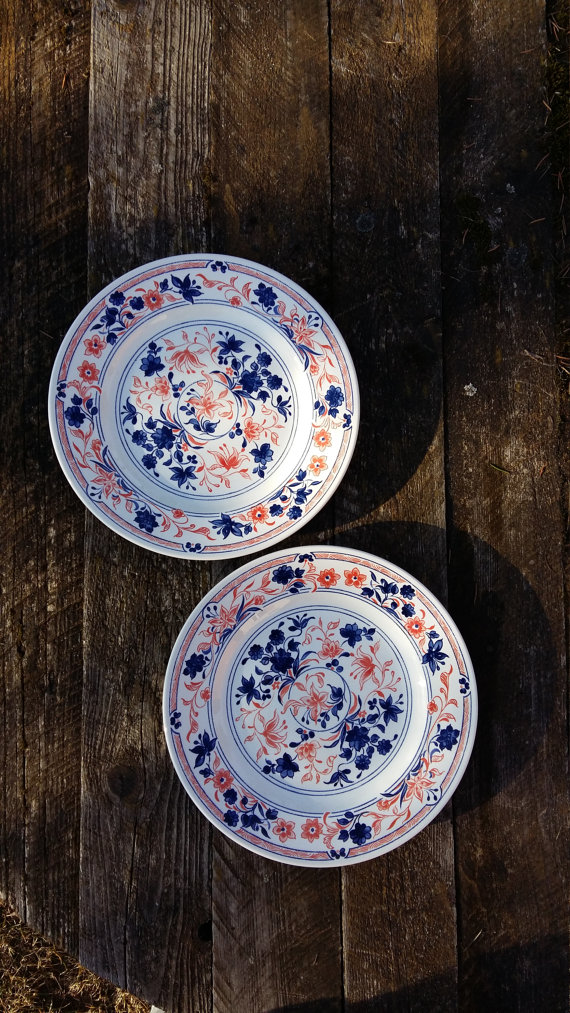 Vintage English Pottery Ironstone Plate Churchill England Dinner Plate Floral Pattern Blue Red Flowe English Pottery Pottery Plates