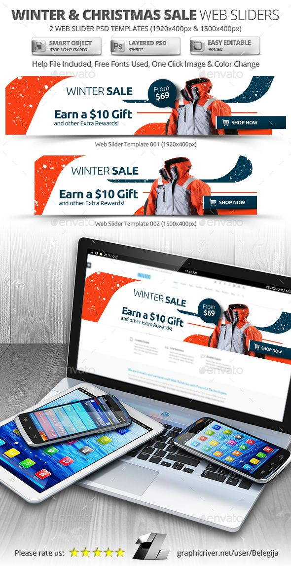 winter christmas sale web slider template psd sliders features