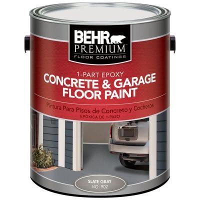 Behr Premium 1 Gal 902 Slate Gray 1 Part Epoxy Concrete And Garage Floor Paint 90201 The Ho Garage Floor Paint Painted Concrete Floors Epoxy Concrete Floor