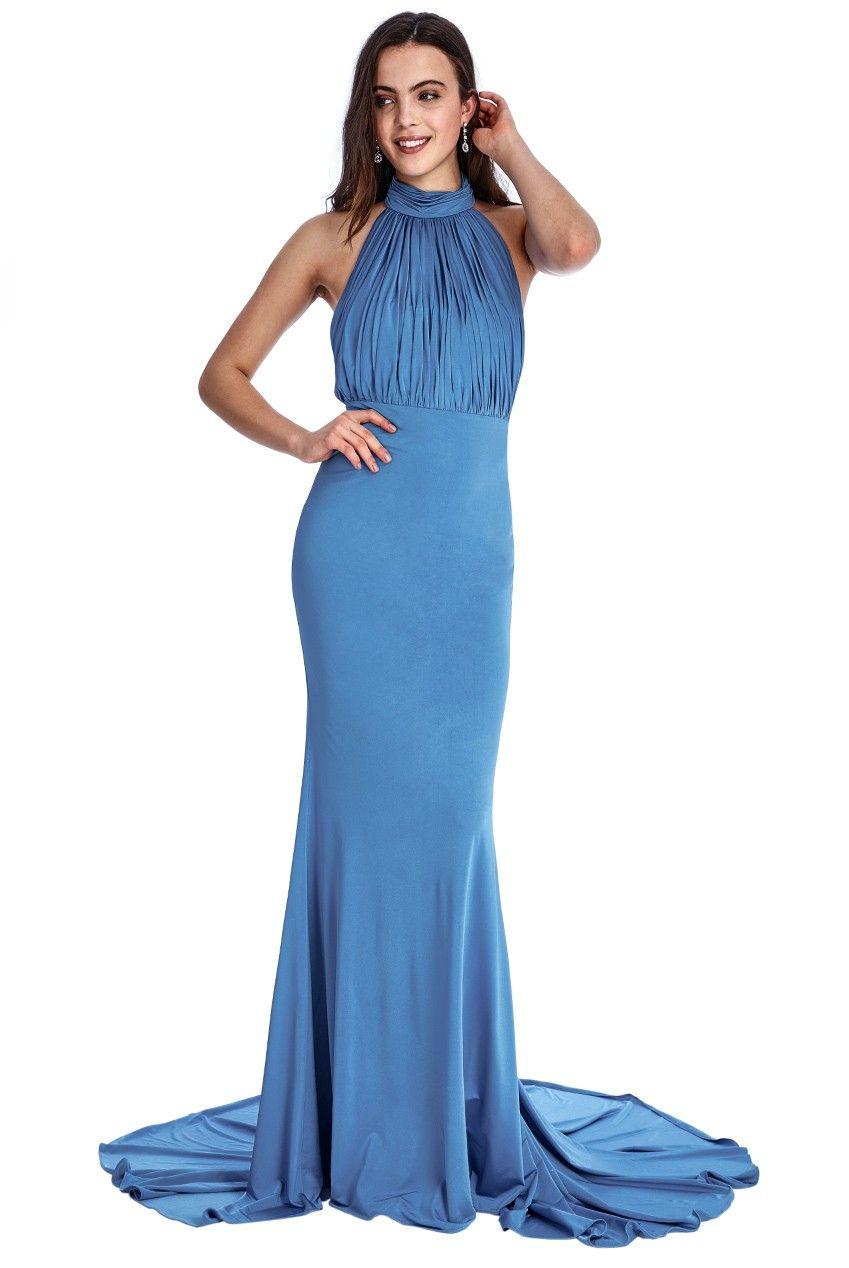 Halter Neck Fishtail Maxi Dress - Blue | Společenské šaty ...