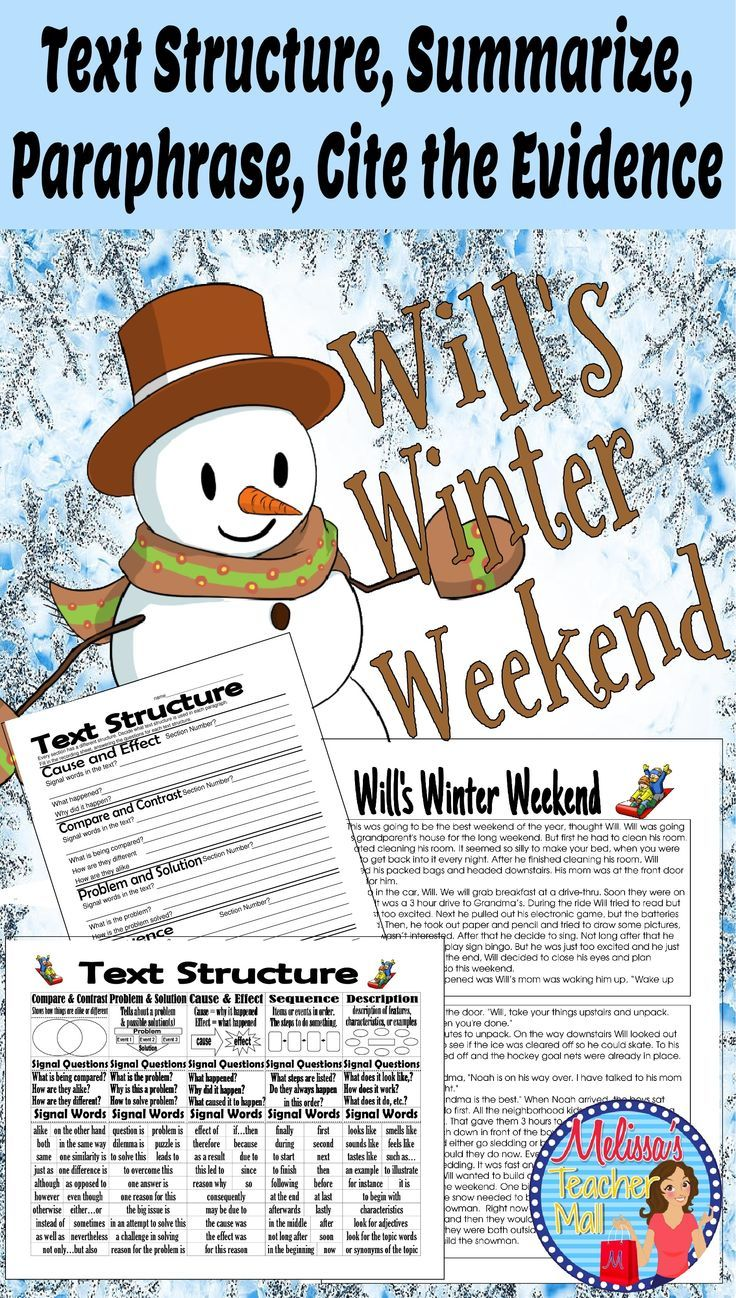 Text Structure Summarize Paraphrase Cite The Evidence Activity Will S Winter Language Art Activitie Primary Teacher Resources How To Signal Begining Of