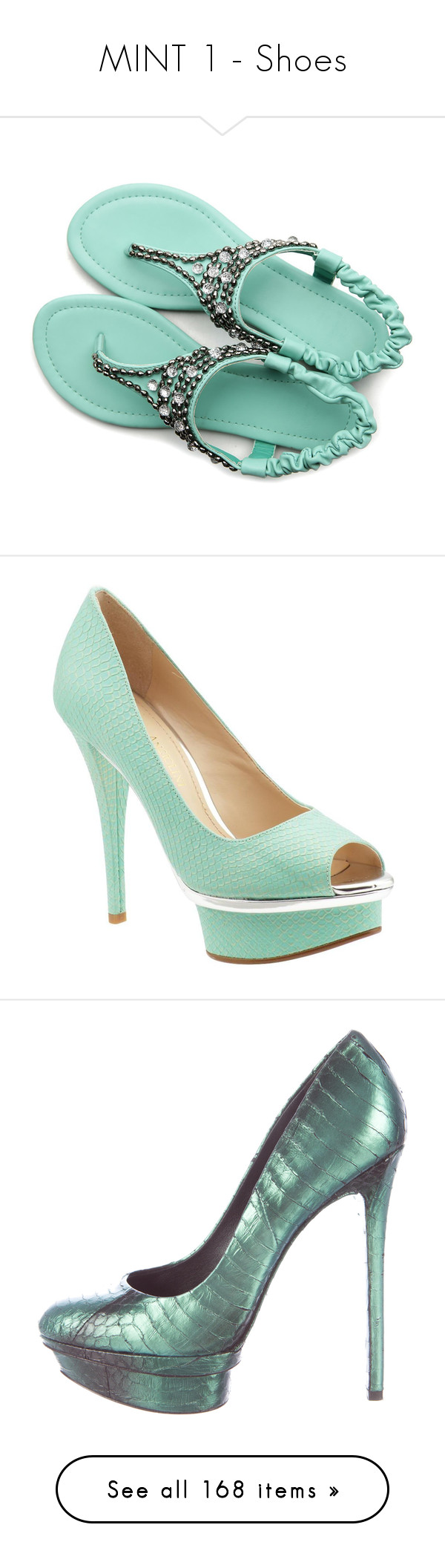 """MINT 1 - Shoes"" by franceseattle ❤ liked on Polyvore featuring shoes, sandals, flip flops, strap flip flops, strap shoes, strappy sandals, strap sandals, strappy shoes, mint and leather slip on shoes"