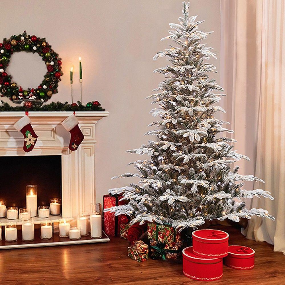 7.5ft Prelit Artificial Christmas Tree Flocked Alaskan Fir