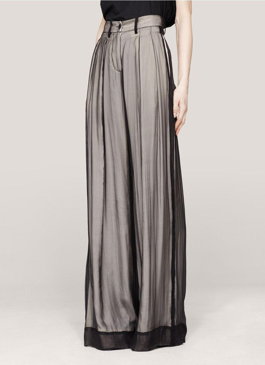 Ann Demeulemeester | Layered wide-leg silk pants
