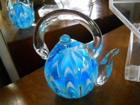 Crystal Art Glass Paperweight  Blue Swirl by ilikemodernVintage, $38.00