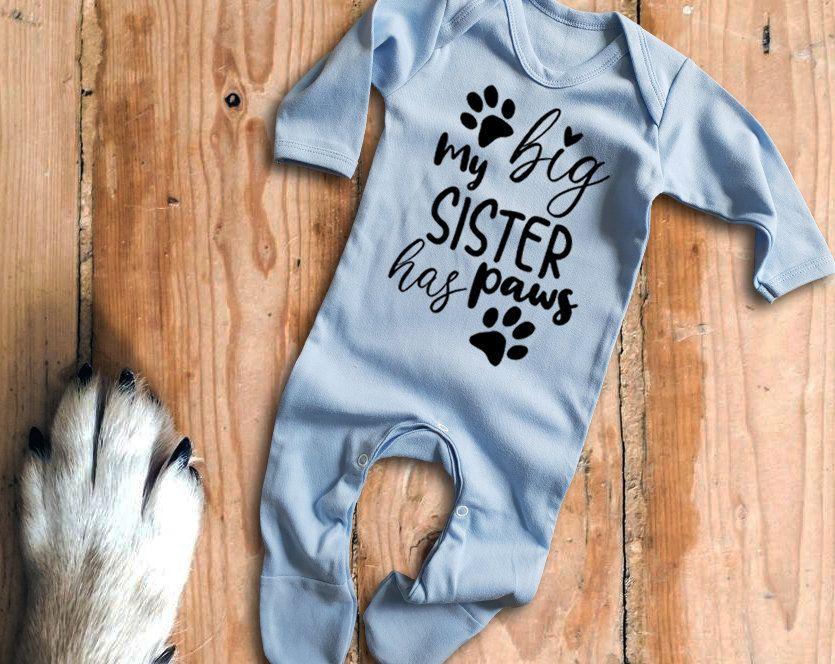 My Siblings have Paws long sleeve Black Rompersuit Bodysuit Sleepsuit Baby Grow