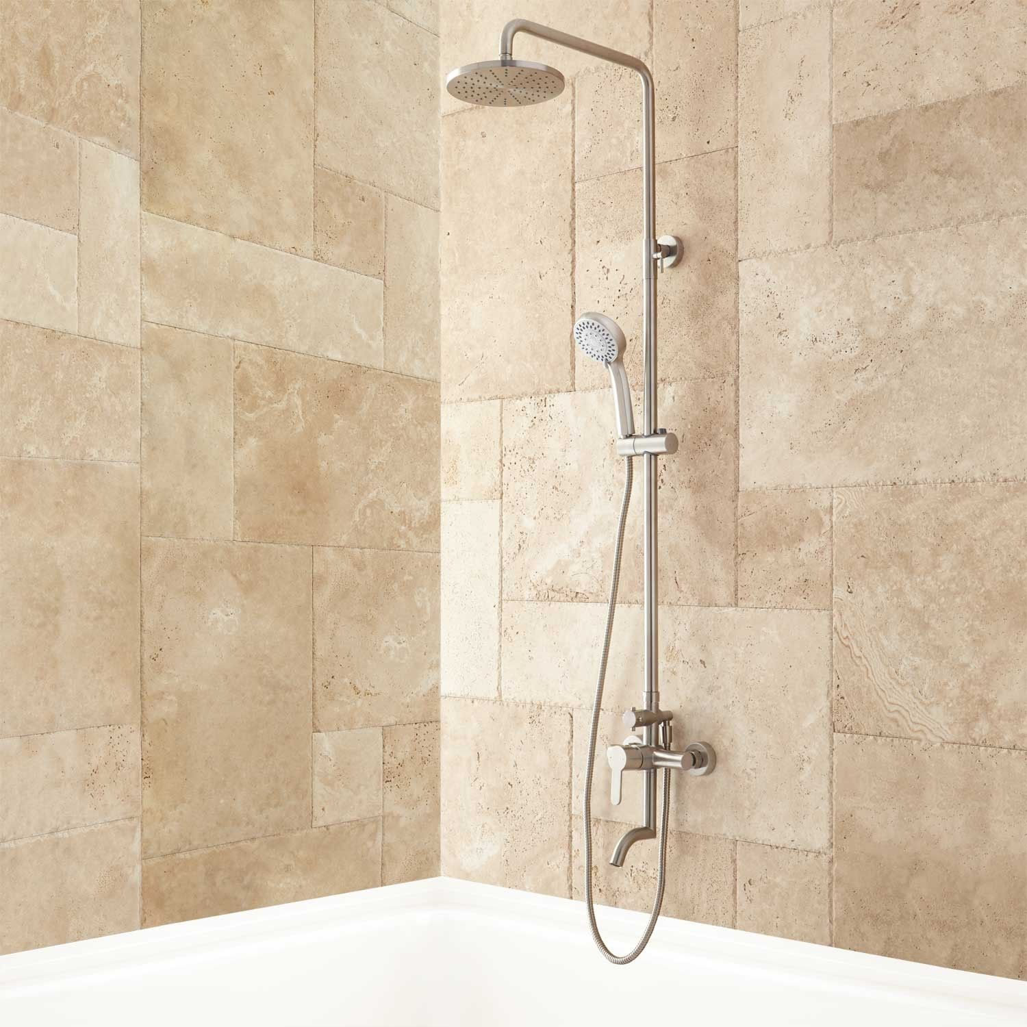 Marvelous Jurado Exposed Pipe Tub And Shower Set   Brushed Nickel   Tub And Shower  Sets