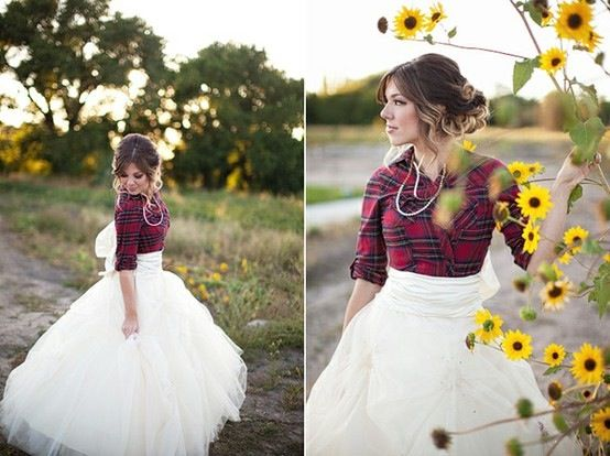 Country Wedding Dress I Like The Plaid Shirt Over The Dress Maybe