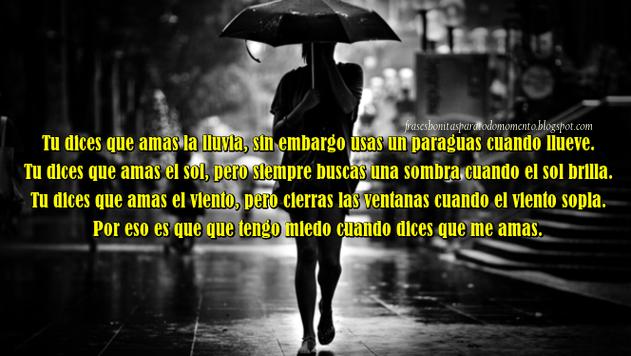 Tu Dices Que Amas La Lluvia Sin Embargo Usas Un Paraguas Cuando Llueve Tu Dices Que Amas El Sol Pero Siempre Busca Amar La Lluvia Frases De Lluvia Decir No