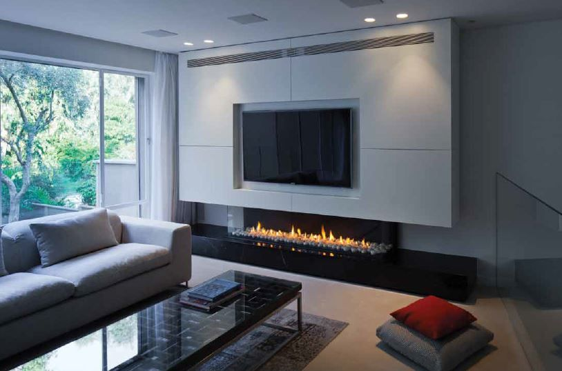 a long gas fireplace long low three sided gas fireplace with