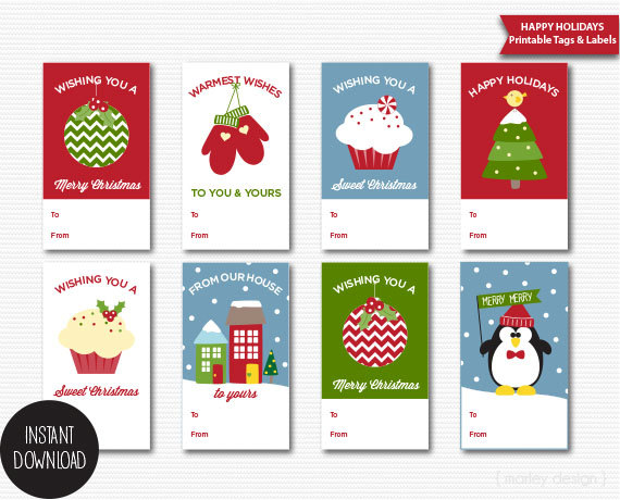 Christmas Tags Printable Christmas Gift Tags Holiday Gift Tags Cute ...