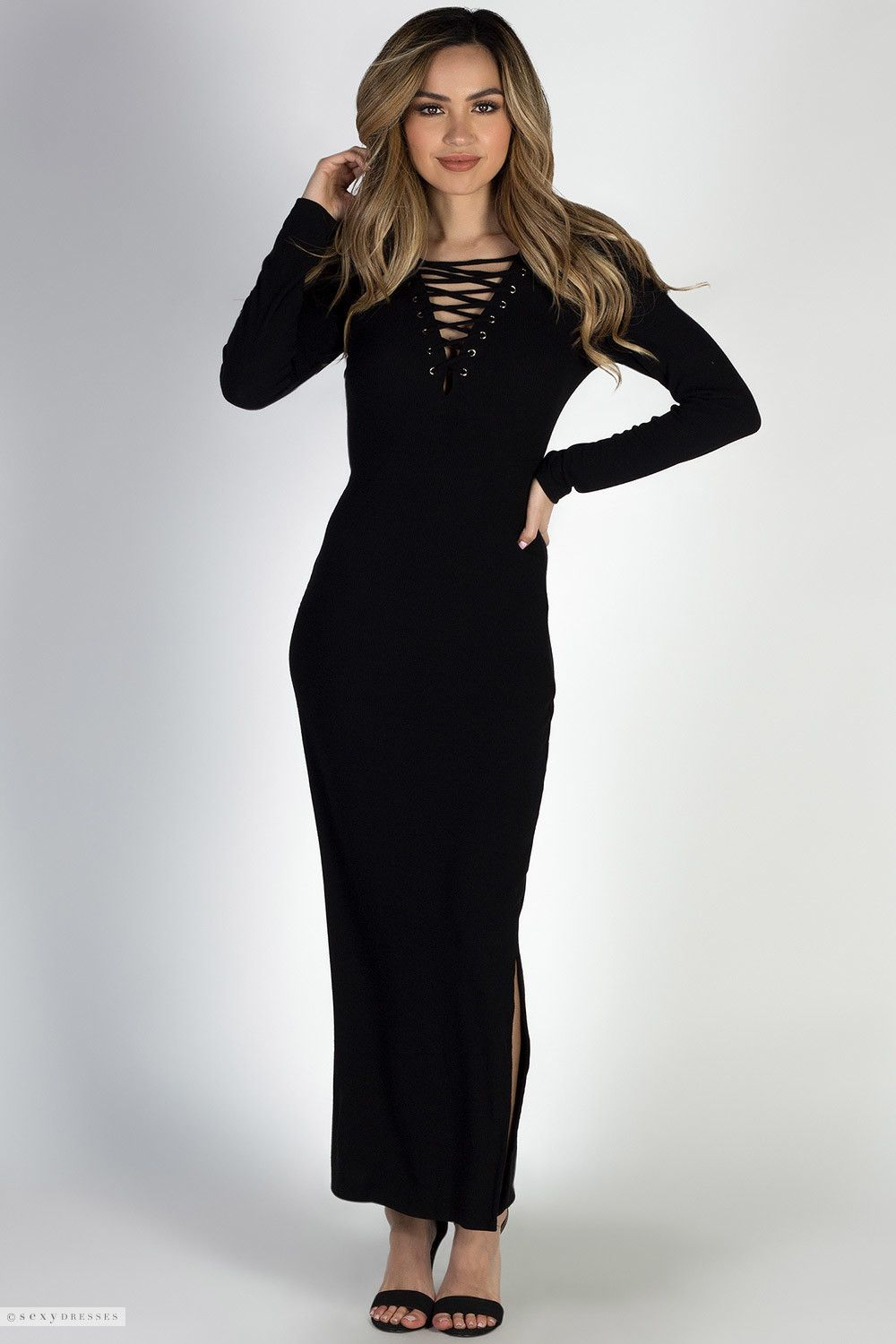 Long sleeve crisscross deep v stretchy ribbed black maxi dress