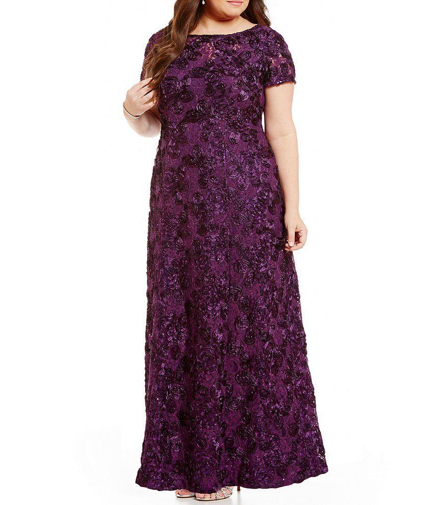 Alex Evenings Plus A-Line Rosette Gown   Pinterest