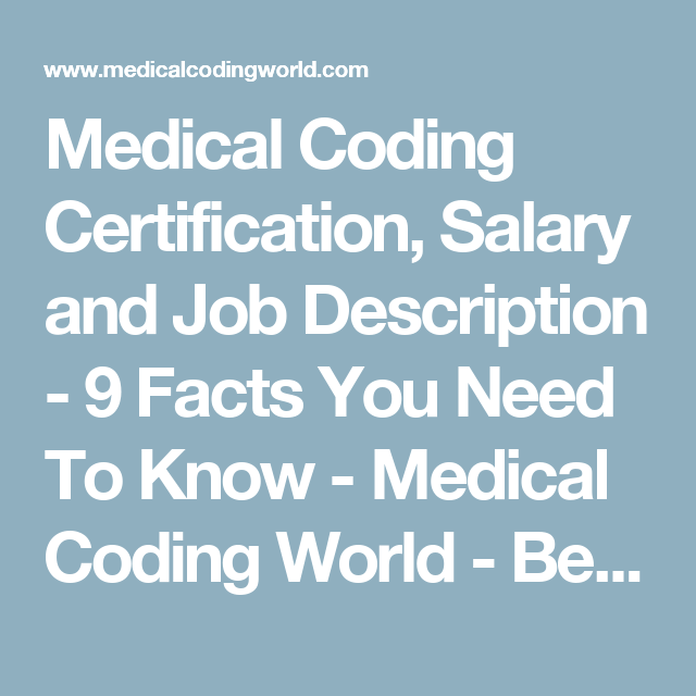 Medical Coding Certification Salary And Job Description   Facts