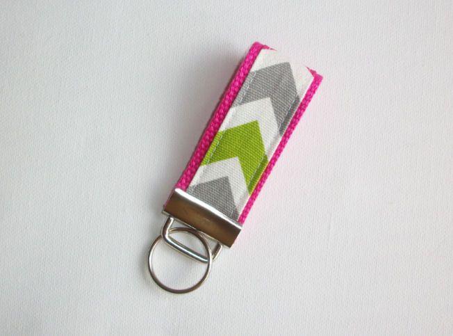 Mini Key Fob Keychain Wristlet Candy Chevron Pink Green