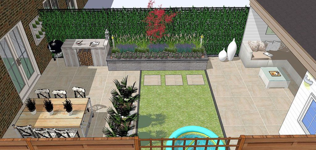 Tuinontwerp blokhut overkapping garden inspiration for Tuinontwerp tussenwoning
