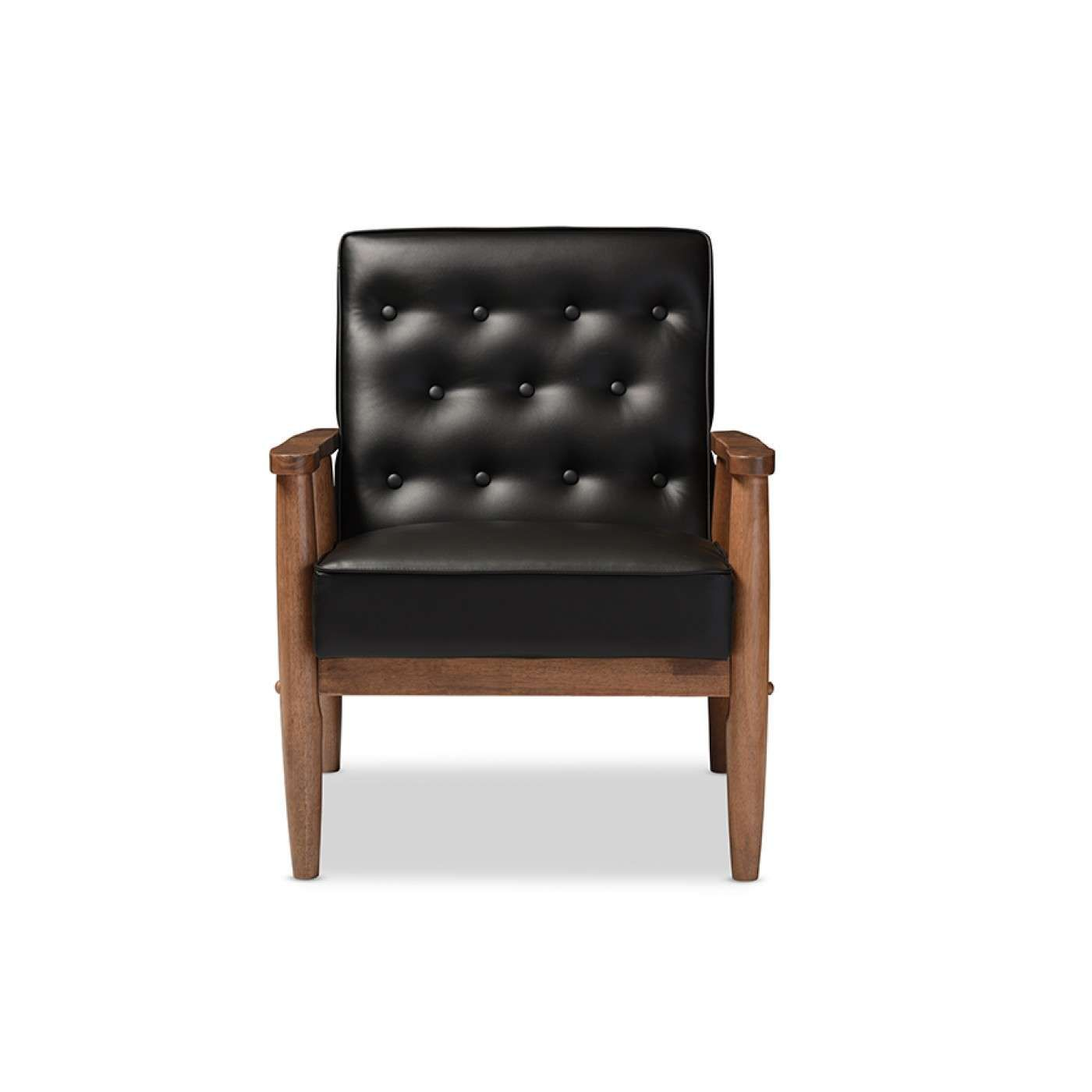 Baxton Studio Sorrento Modern Black Faux Leather Wooden Lounge