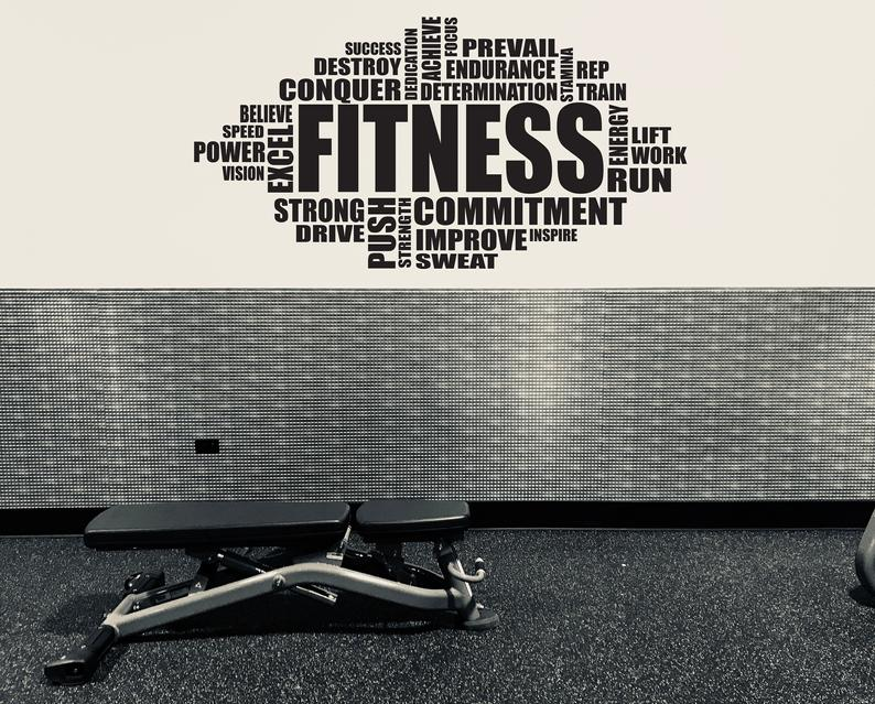 Gym Wall Decal Inspirational Wall Decal Fitness Wall Decal Etsy
