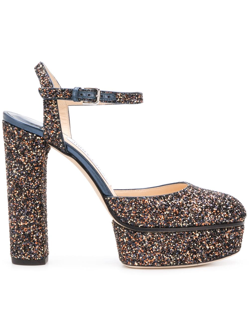 JIMMY CHOO PEACHY 125 AMETHYST MIX TWINKLE GLITTER FABRIC