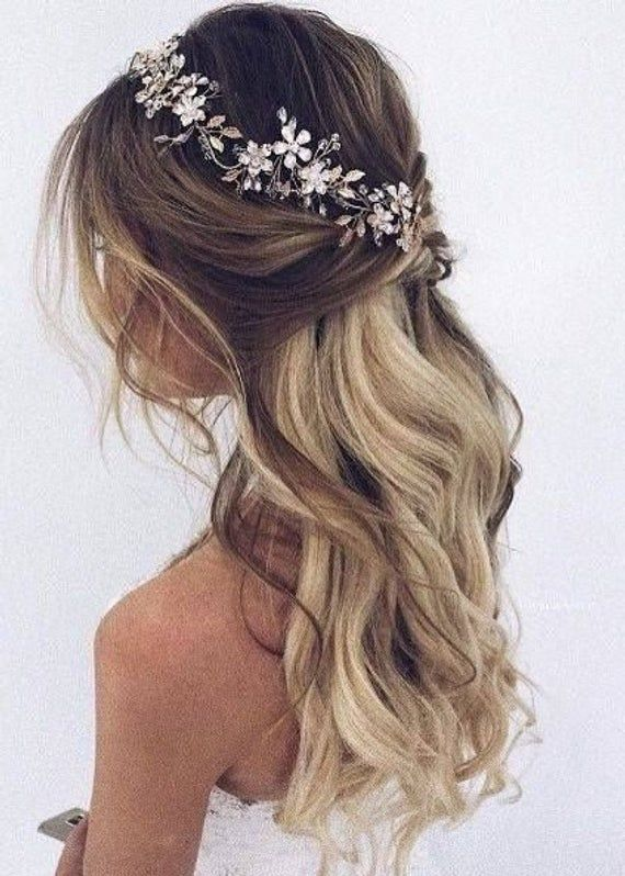 Photo of Bridal hair vine  Bridal hair piece Gold Bridal headpiece Bridal headband Wedding headband Wedding hair piece Wedding hair vine Floral