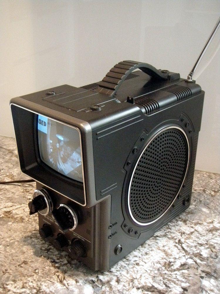 Vintage Hitachi 1980 Portable Television Sci Fi Retro Electronics Collectible Housewares 80s Home Decor Black