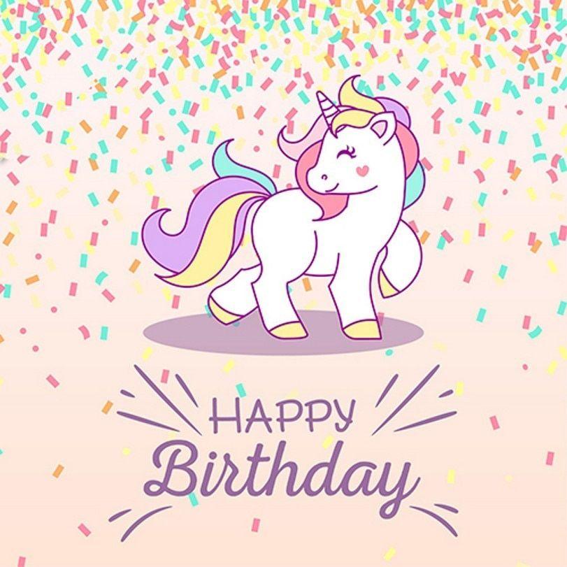 رخيصة قوس قزح يونيكورن حزب سعيد استوديو الصور خلفية الفينيل القماش عالية الجودة الكمبيوتر المطبوعة ع Happy Birthday Design Unicorn Birthday Birthday Background