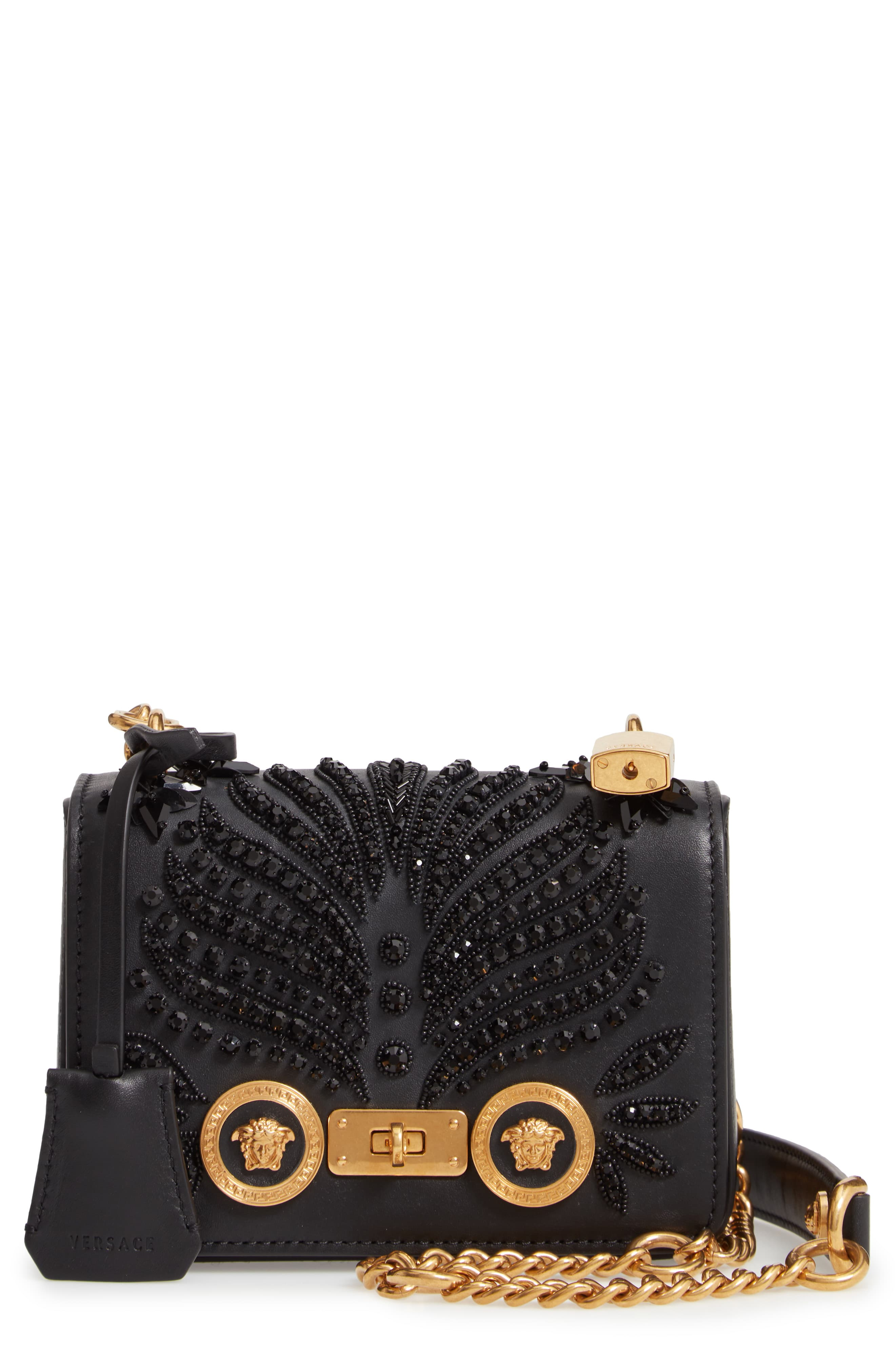 34557a8d6b Versace Small Icon Crystal Embellished Leather Crossbody Bag - Black ...