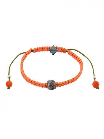 Baby Skull & Braided Neon Cord Bracelet with Orange Citrine eyes by Suicide Blonde