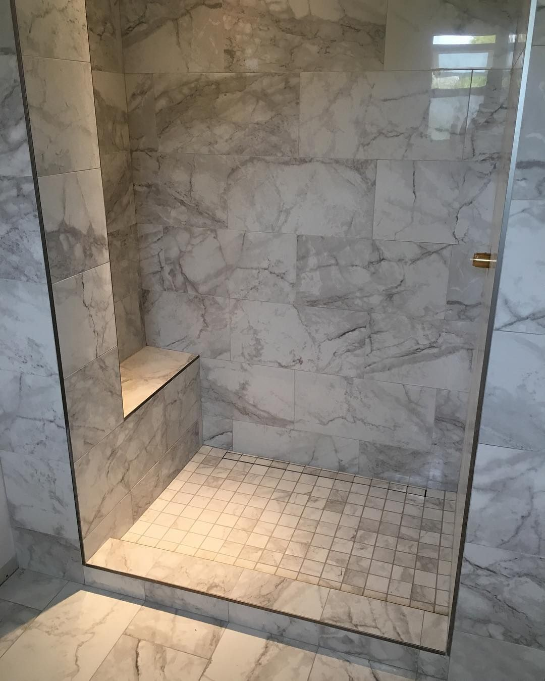 Custom Shower With Bench And Tileable(hidden) Kerdi Linear Drain. Awaiting  Glass