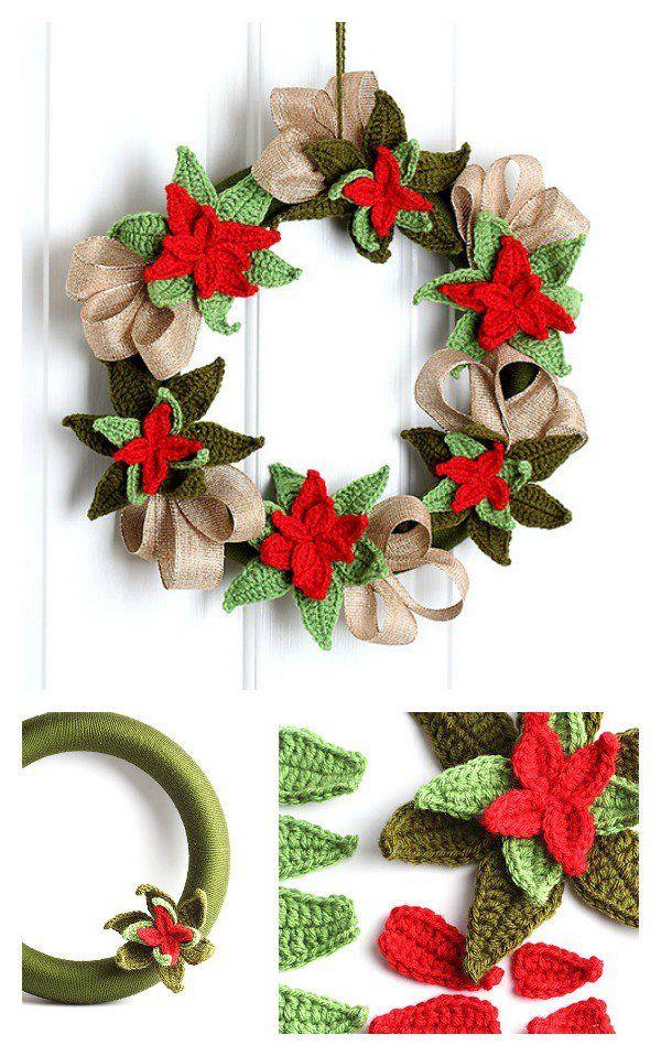 10 Christmas Wreath Crochet Patterns Poinsettia Wreath Christmas