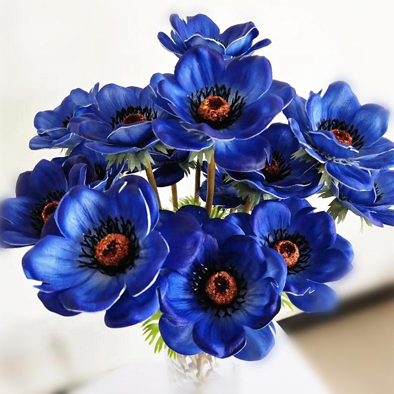 Electric Blue Anemones Flowers Anemone Flower Flower Bouquet Delivery Artificial Flowers