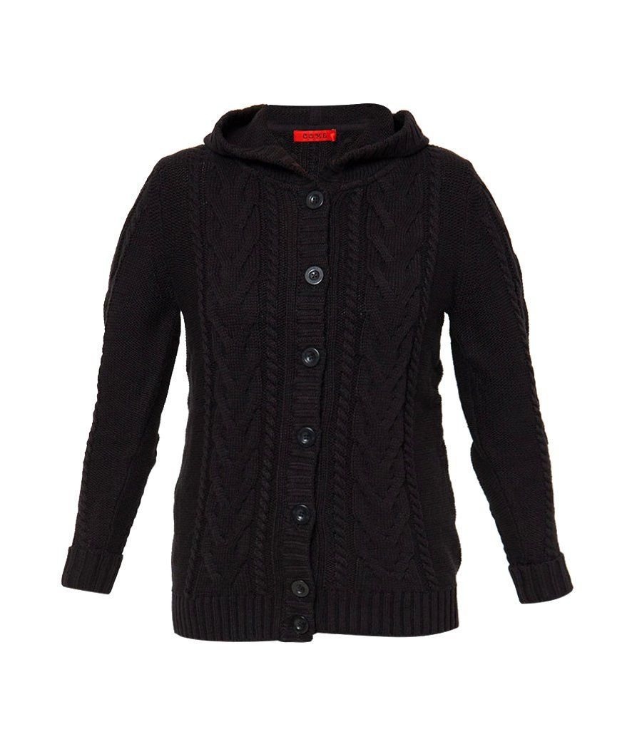 Long Sleeve With Hoodie by Come. Knitted cardigan with soft and comfy material, that will warm you up, with black color, this cute knitted cardigan with hoodie looks so cute and simple. Front button closure, long sleeve. http://zocko.it/LE0ry