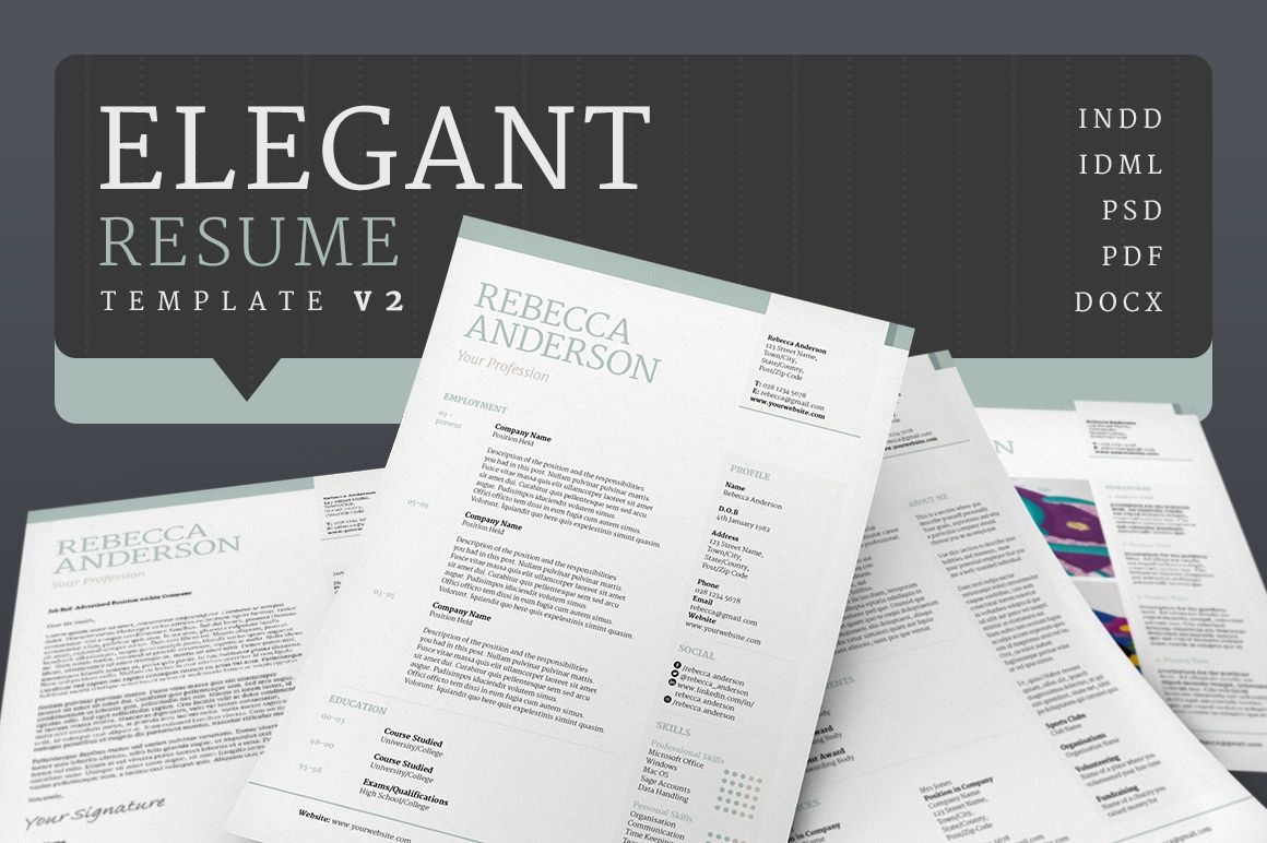 Elegant ResumeCv V By Bilmaw Creative On Creativemarket  Work