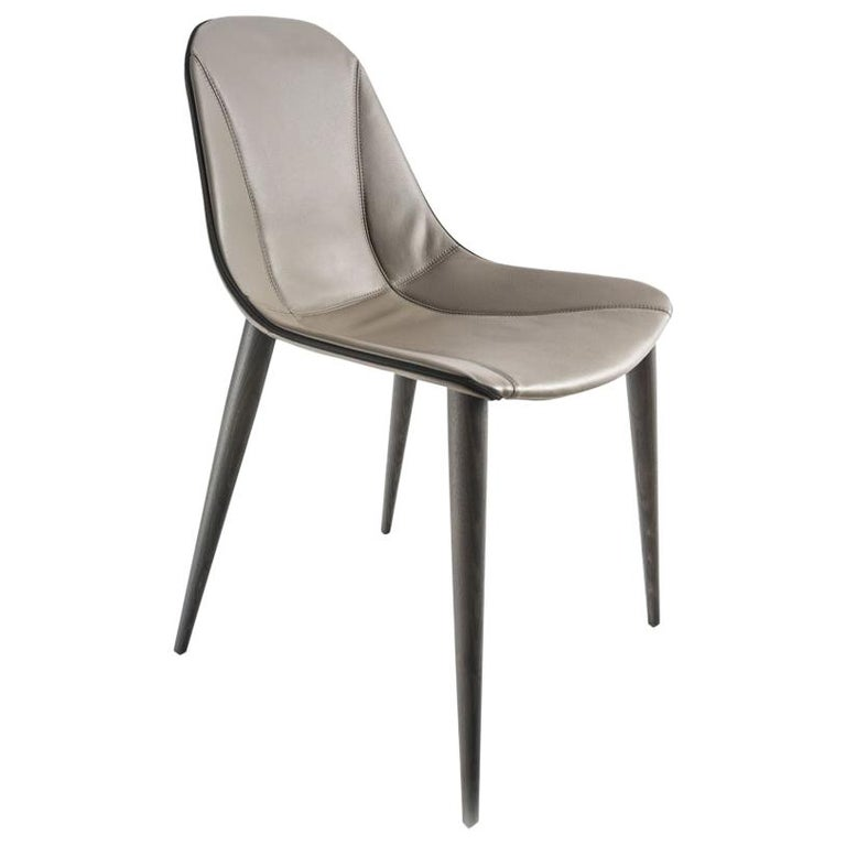 Modern Italian Dining Chair Leather And Wood Made In Italy