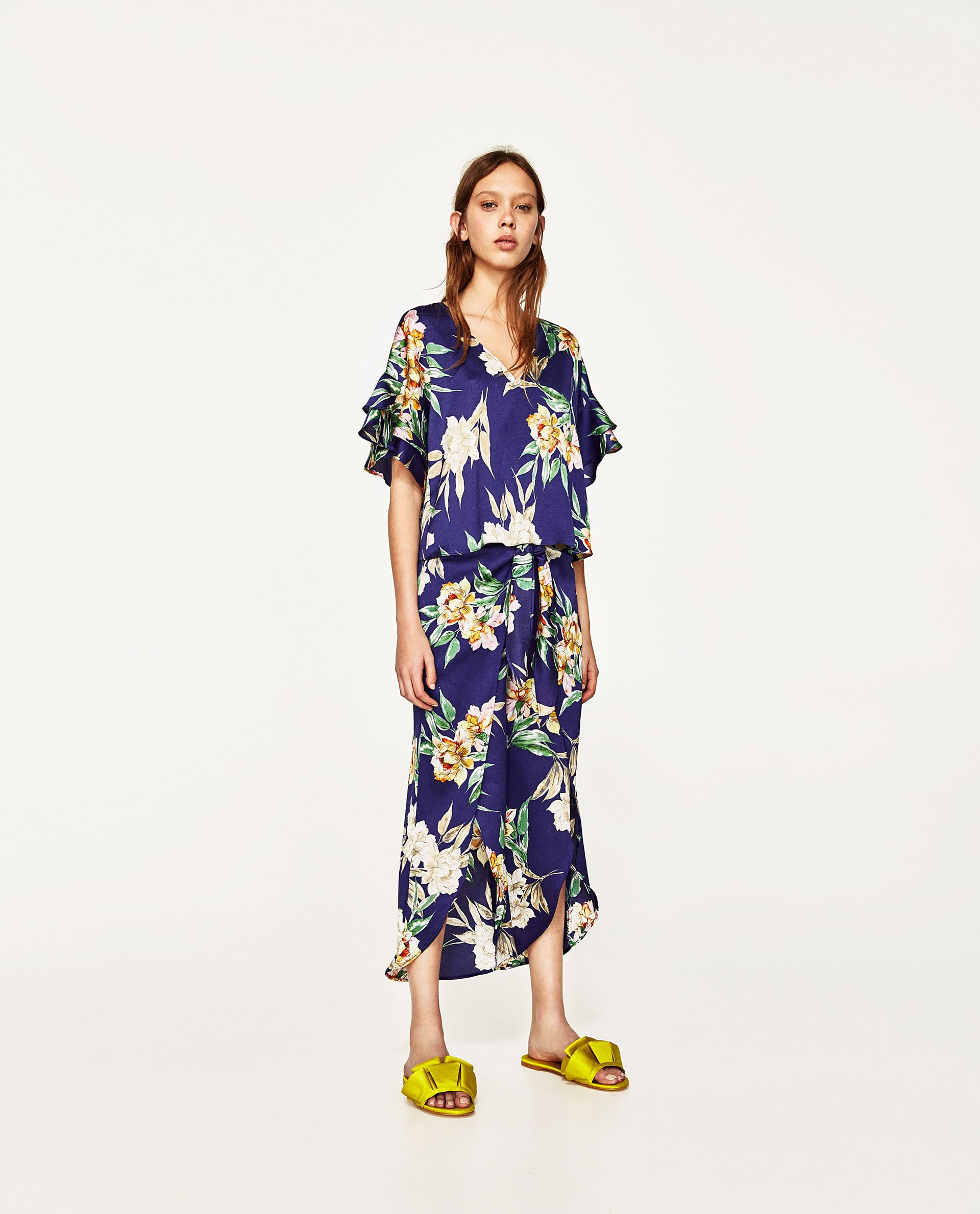 ZARA - WOMAN - RUFFLED FLORAL PRINT BLOUSE