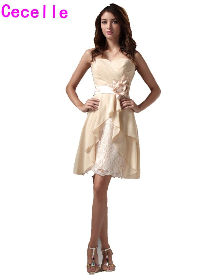 Click to buy ucuc champagne short bridesmaid dresses gowns aline knee