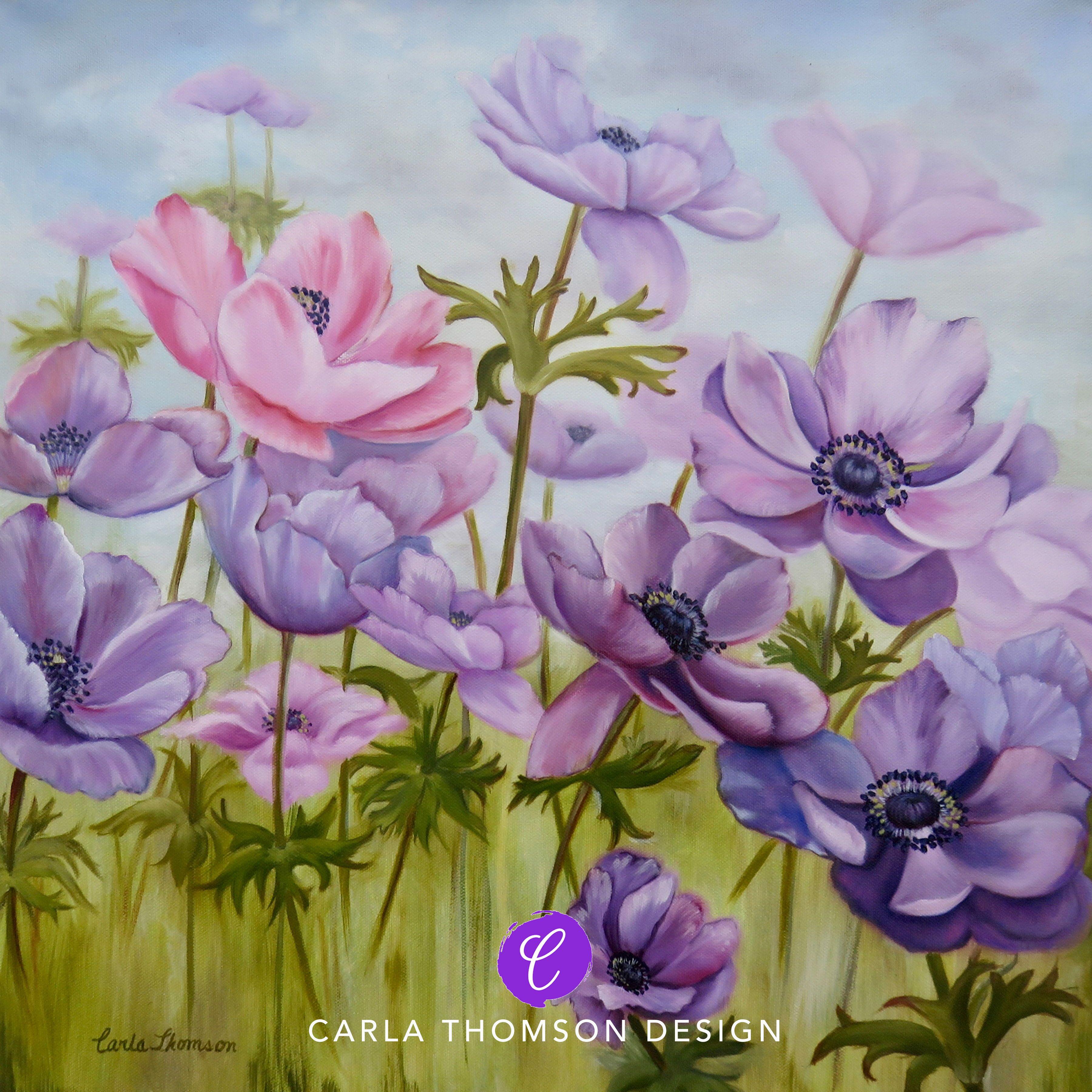 Field Of Flowers Original Art Oil Painting On Canvas Purple Pink Anemone Flowers Painting Windflowers Shabby Chic De Painting Art Painting Oil Oil Painting