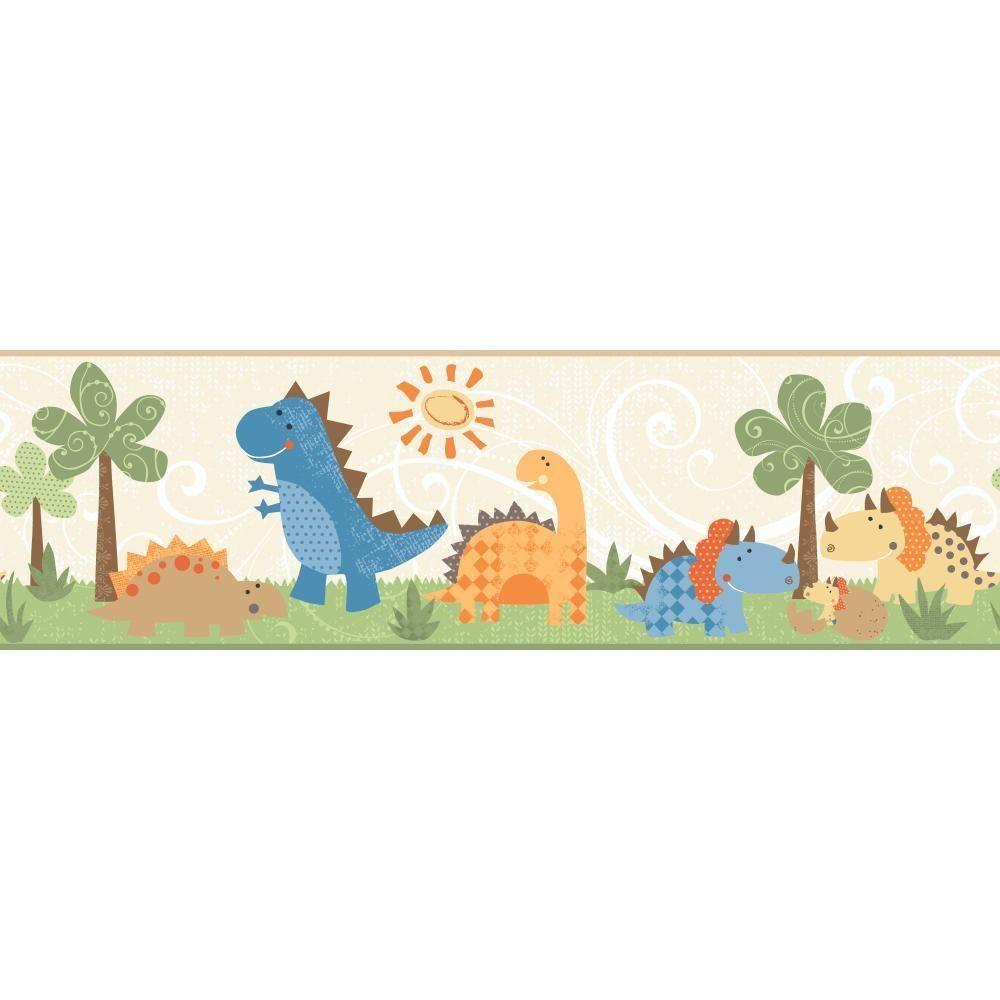 Inspired by color babysaurus wallpaper border pale sand beige