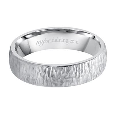 Unique Wedding Bands - Wood Finish White Gold Wedding and Engagement Band in Los Angeles - See Now at #MyBridalRing - http://www.mybridalring.com/Mens/wood-finish-engagement-band-in-14k-white-gold/