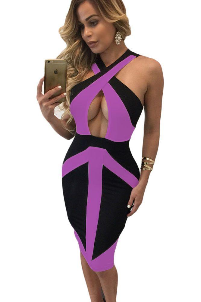 Black Purple Colorblock Cross Front Bodycon Dress | Pinterest