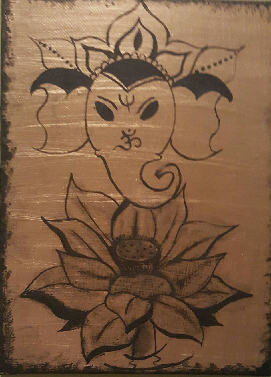 Black and Gold ganesh lotus on canvas