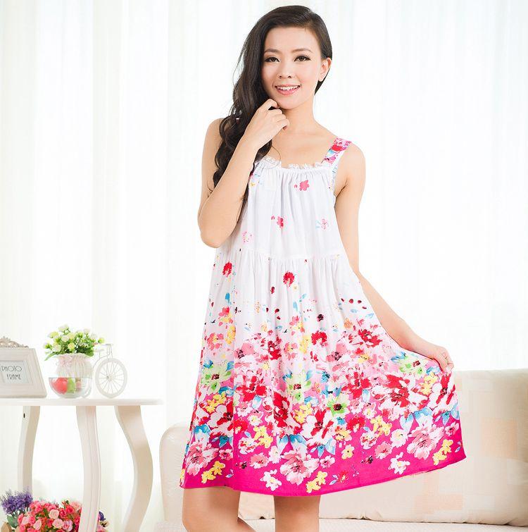 d14db9c34f9fe Women Cotton Nightgown Floral Sleep Dress Sleeveless Sleep Shirt Plus Size  Night Shirt Sexy Nightwear Casual Home Dress