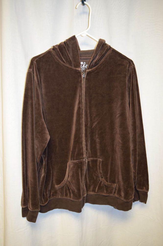 Womens Size 1X Brown Zip Up Hoodie Jacket Long Sleeve Made For Life Wide Band  #MadeforLife #Hoodie