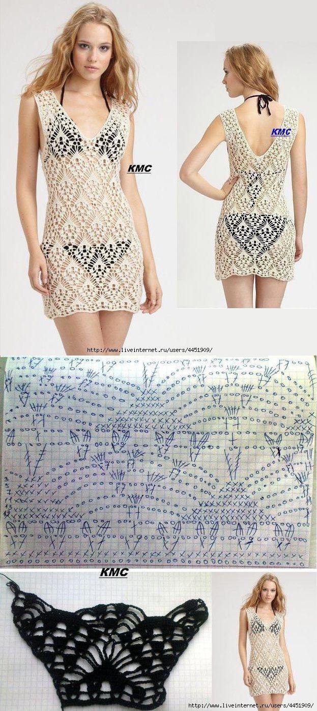 Vestido de céu aberto com diamantes. | πλεκτο | Pinterest | Tejido ...
