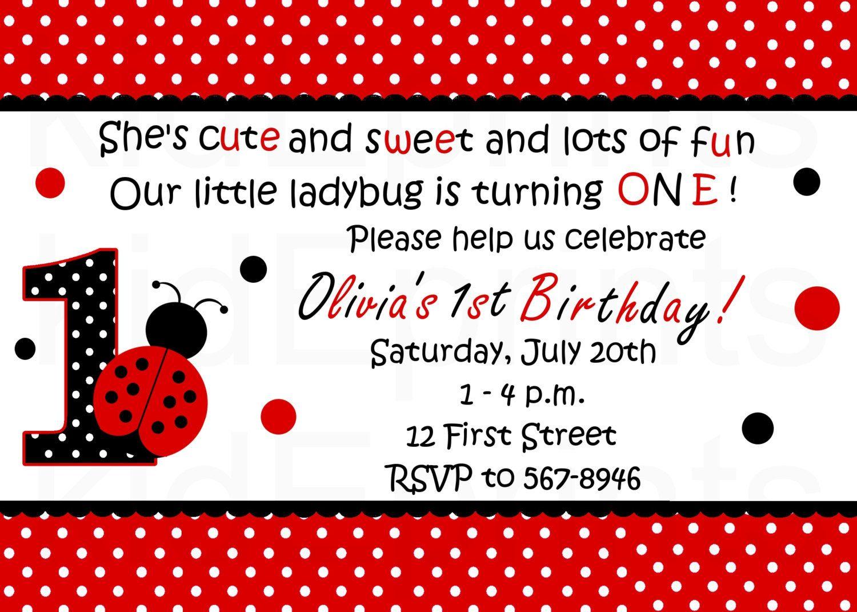 Printable Ladybug Invitation - Red Ladybug Birthday Party ...