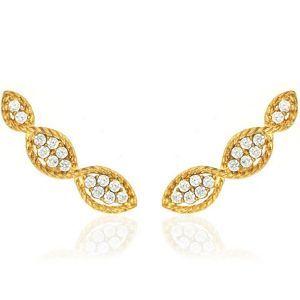 Brinco Ear Cuff Trançado Semijoia em Ouro 18K com Zircônia Branca Brilhante f2368dcfc5